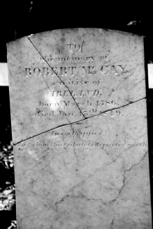 tombstone cracked into 3 pieces