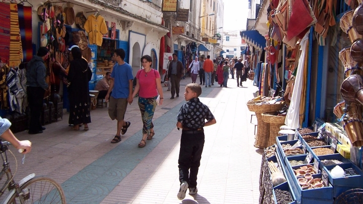 street bazaar in morocco north africa