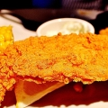 fried fish with corn and tartar sauce
